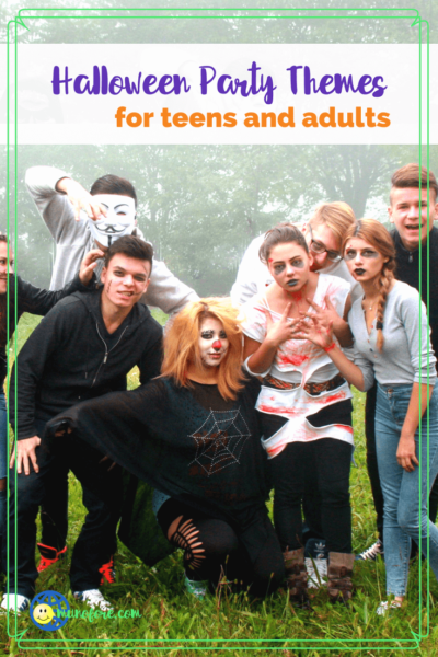 """group of teens dressed as zombies with text """"Halloween Party themes for teens and adults"""""""