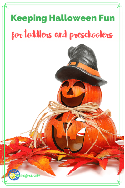 "stacked jack o lanterns with text overlay ""Keep Halloween fun for toddlers and preschoolers."