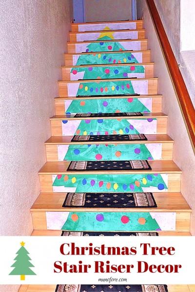 Christmas tree stair riser decor munofore - Stair riser decoration ideas ...