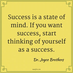 Dr. Joyce Brothers: Success is a state of mind. If you want success, start thinking of yourself as a success.