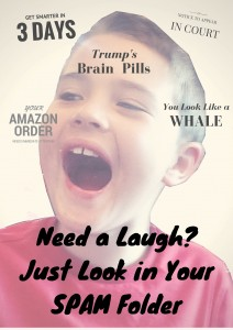 Funny SPAM e-mail examples including Amazon orders for a Tesla, a $36 computer and Trump's Brain Pills