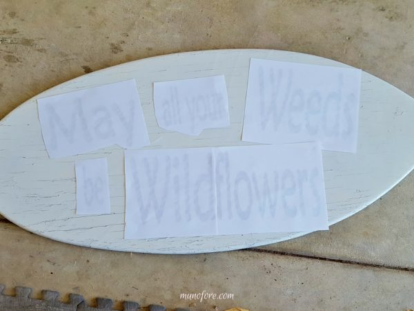 Fun Garden Sign - repurpose an old skim board into a whimsical garden sign. Garden Art. Upcycle. DIY.