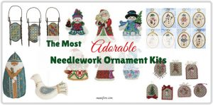 Adorable Needlework Ornament Kits to easily create homemade keepsake Christmas ornaments. Crossstitch. Embroidery.