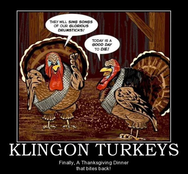 Sci Fi Thanksgiving Memes: funny Thanksgiving themed memes from Star Wars, Star Trek, Dr. Who, Matrix and Stargate.
