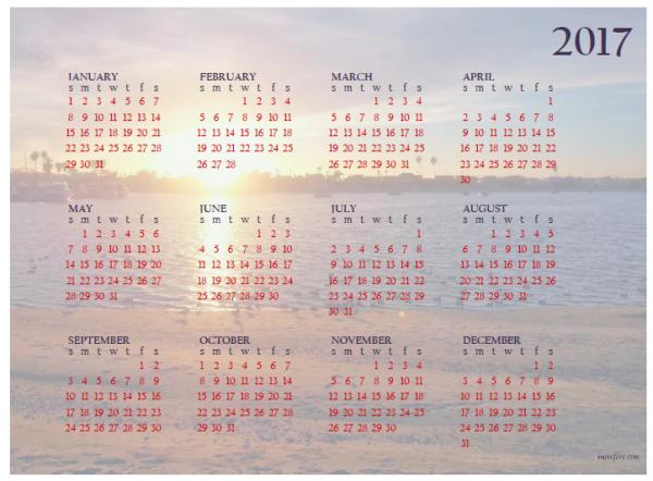 Free Printable 2017 Year at a Glance Calendars - Munofore