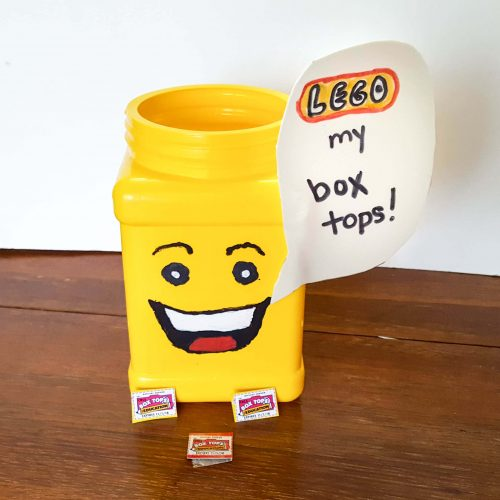 Lego my box tops mini-fig head box top collection boxes.