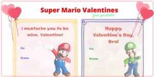 Free Printable Super Mario Valentines for Classroom Exchanges