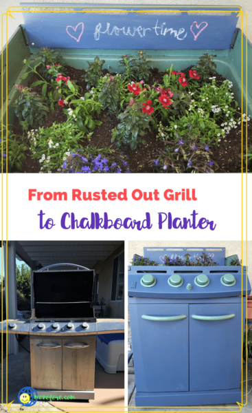 collage of an old gas grill turned into a planter
