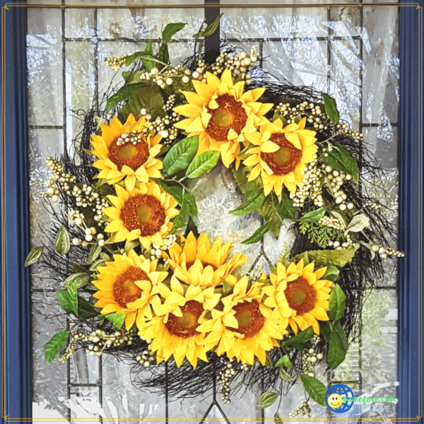 silk sunflower wreath on door