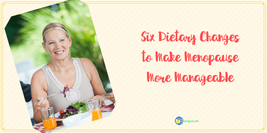 """woman eating with text """"Six Dietary Changes to Make Menopause More Manageable"""""""