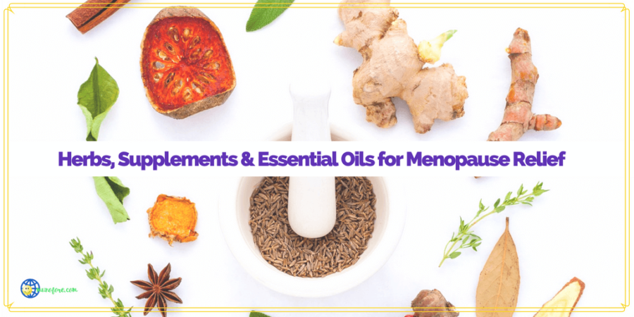 "herbs around a mortar and pestle with text overlay ""Herbs, Supplements and Essential Oils for Menopause Relief"""