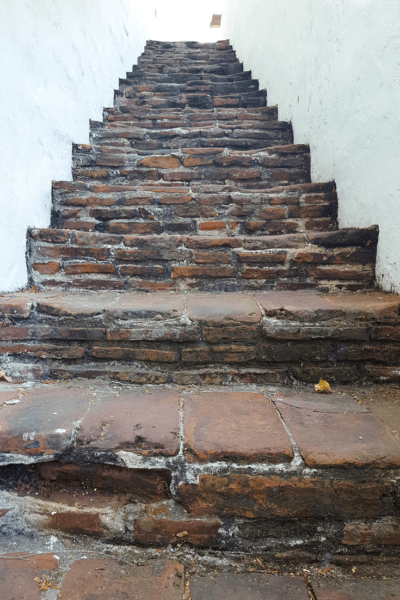 mission san diego stairs to bell tower