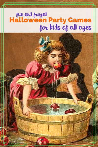 """vintage drawing of girl bobbing for apples with text """"Fun and frugal Halloween Party Games for Kids of all Ages"""""""