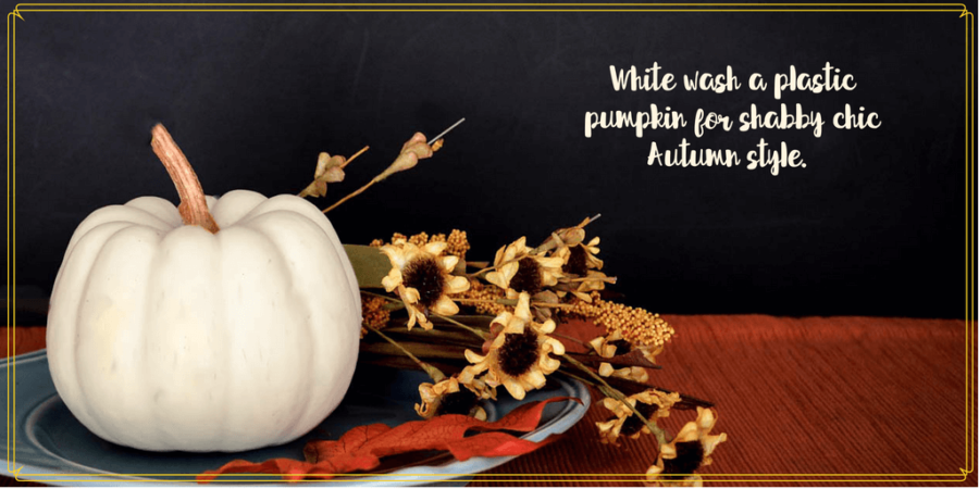 "white pumpkin on a plate with flowers and text overlay ""White-wash a pumpkin for shabby chic Autumn Style"""