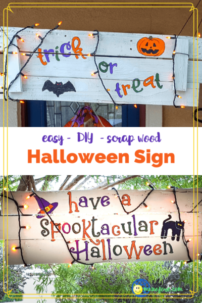 collage of front and back of a two sided Halloween sign