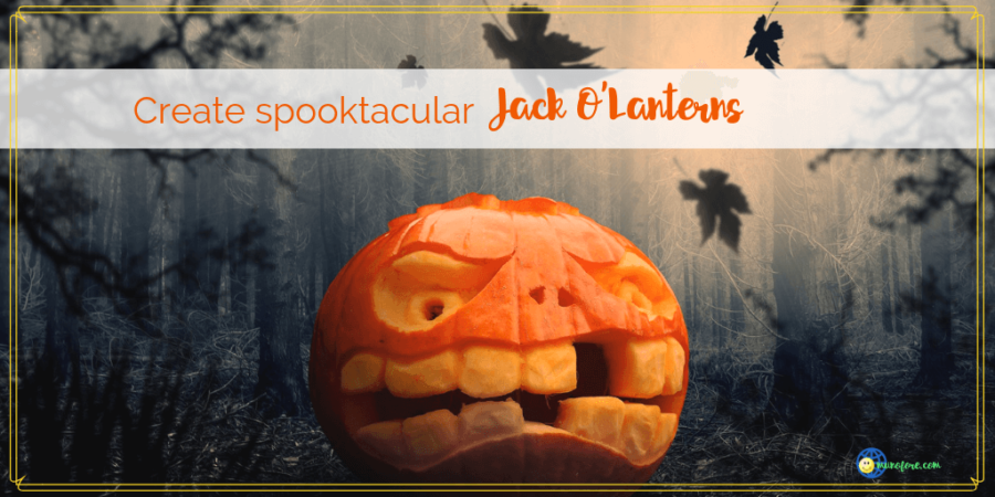 "close up of a jack o'lantern with text ""tips and tricks for carving spooktacular jack o'lanterns"""