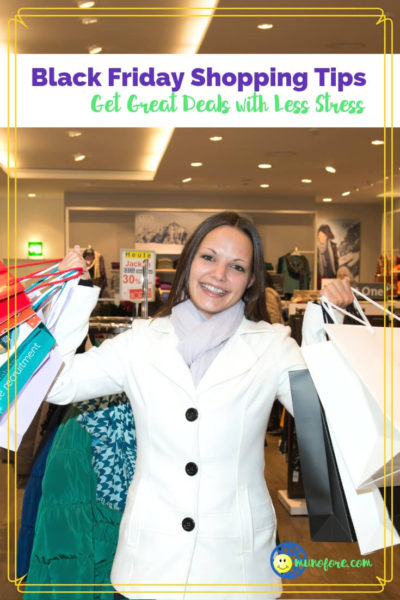 "woman with shopping bags and text overlay ""Black Friday Shopping Tips"""
