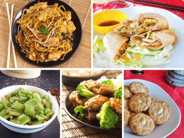 collage of Chinese food for Chinese New Year